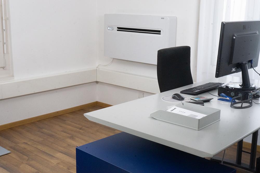 Klimagerät x-one im Einsatz im Büro